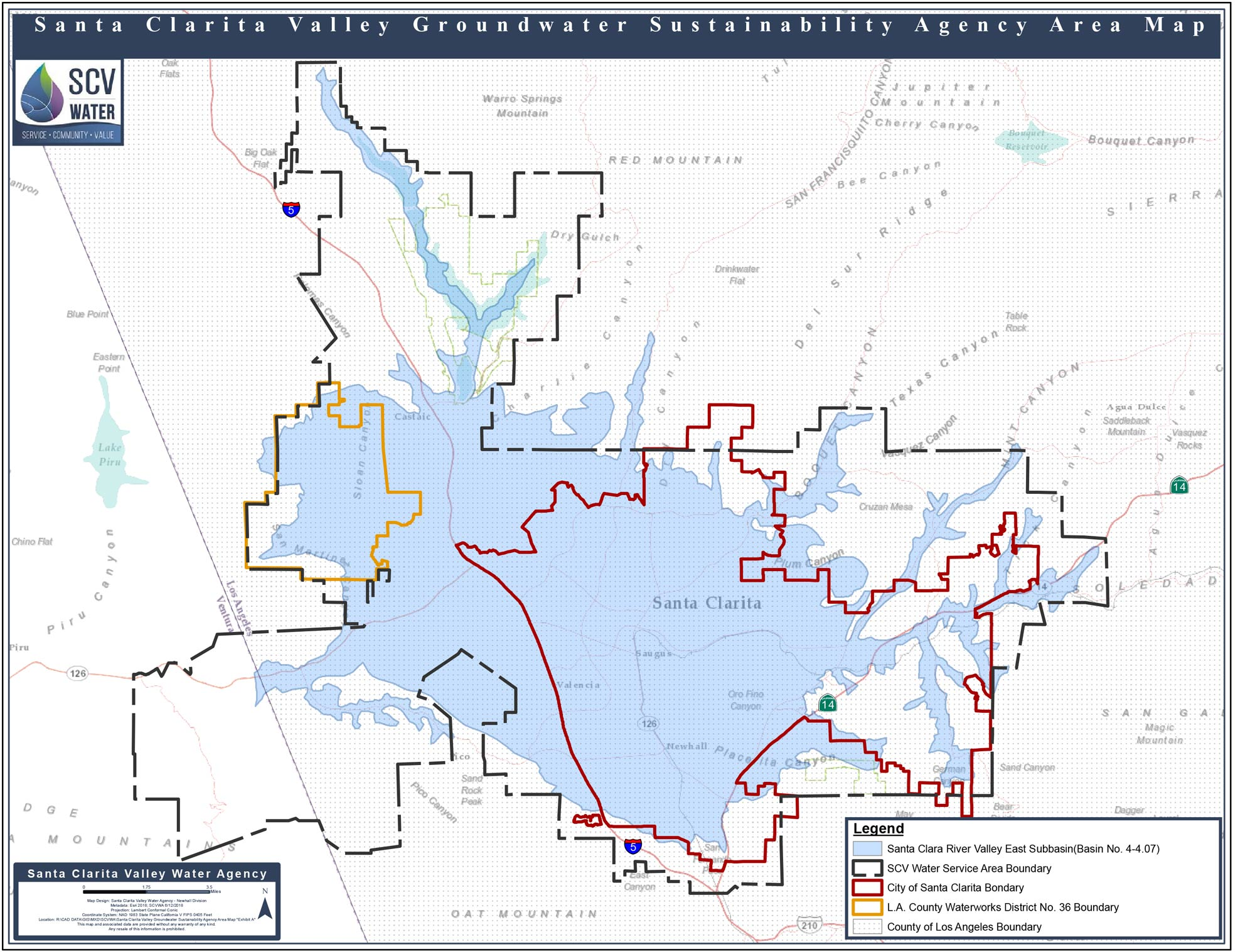 Santa Clarita Valley Groundwater_Sustainability Agency Area Map